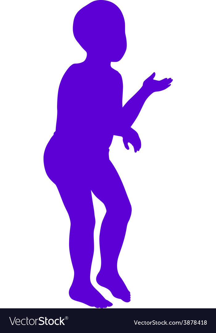 Silhouette of little boy vector