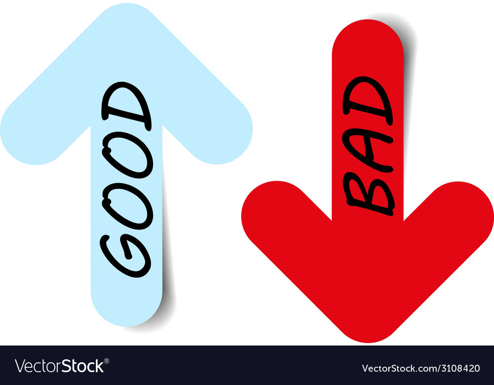 Color arrows good bad vector