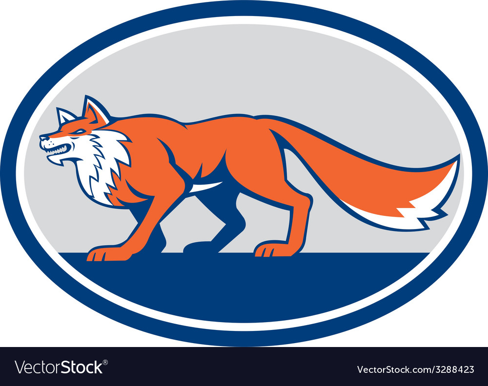 Red fox pouncing side oval retro vector