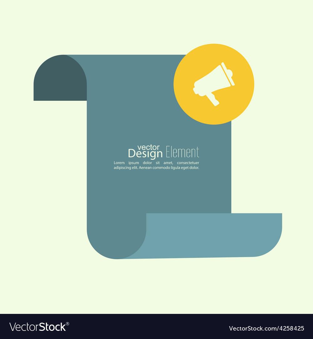 Megaphone loudspeaker with blank scroll vector
