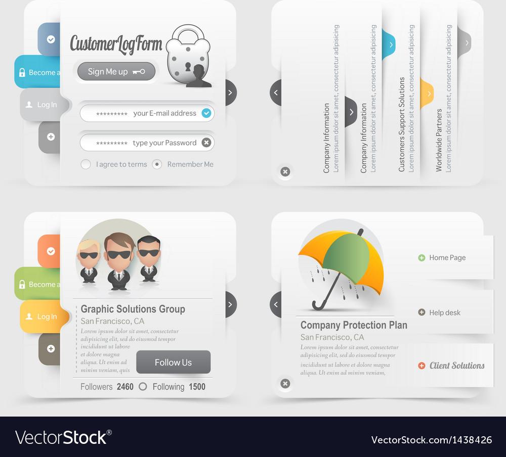 Website menu icons vector