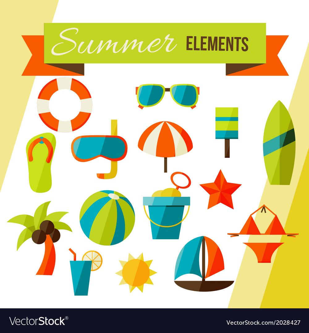 Summer elements isolated on white vector