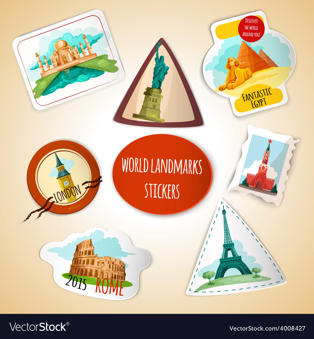 World landmarks stickers vector