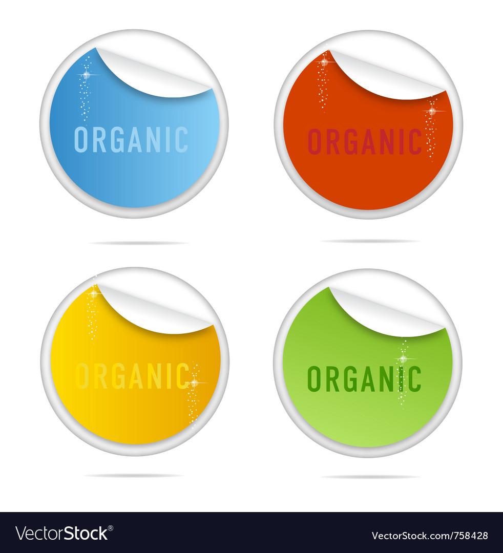 Creative organic curl labels sign set vector