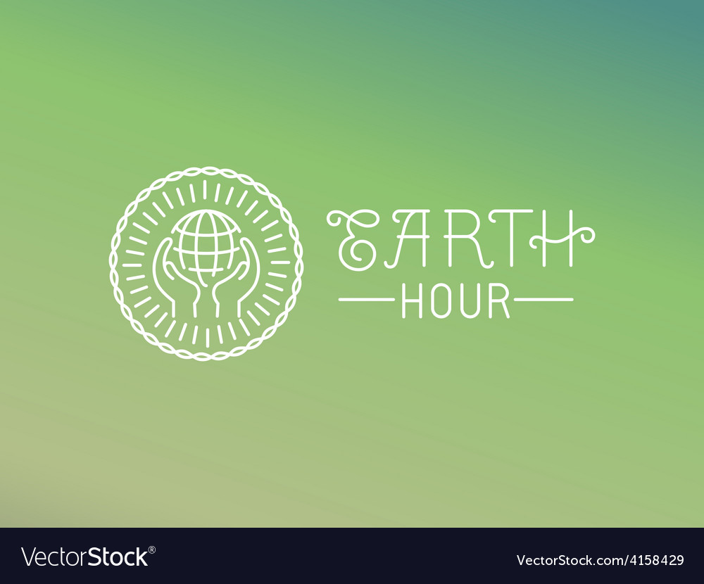 Earth hour logo design in linear style vector