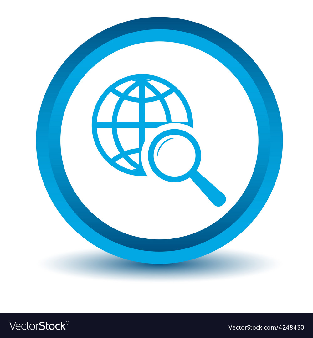 Blue world scan icon vector