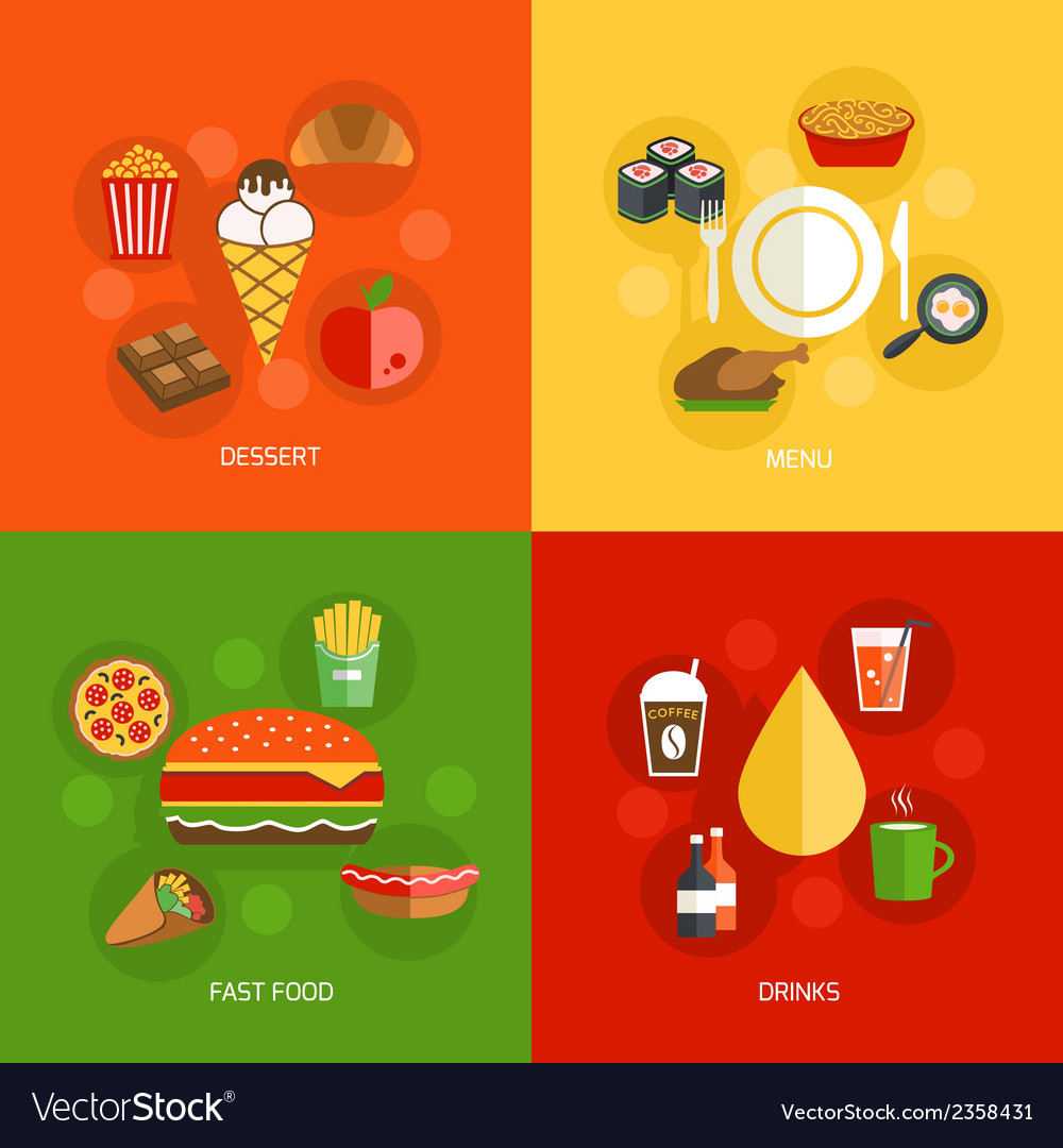Food composition flat vector