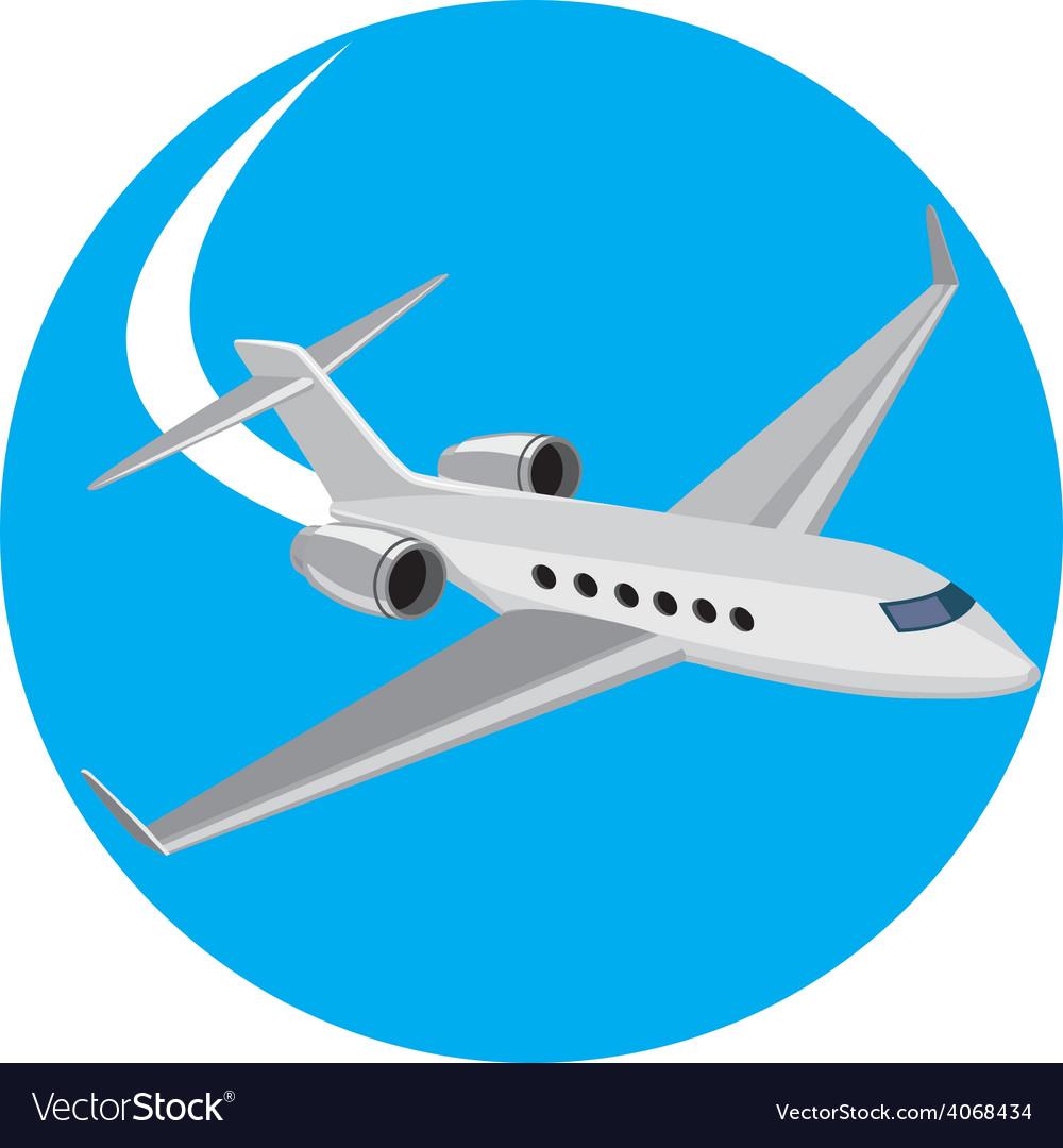 Commercial light passenger airplane circle retro vector