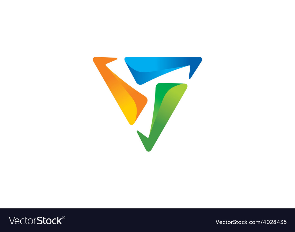 3d triangle technology abstract logo vector