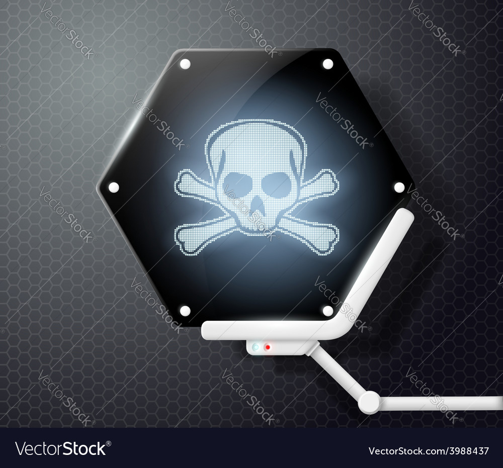 Futuristic screen with skull and crossbones vector