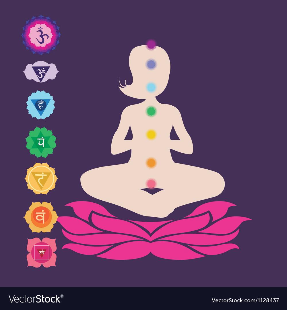 Symbols of seven chakras vector