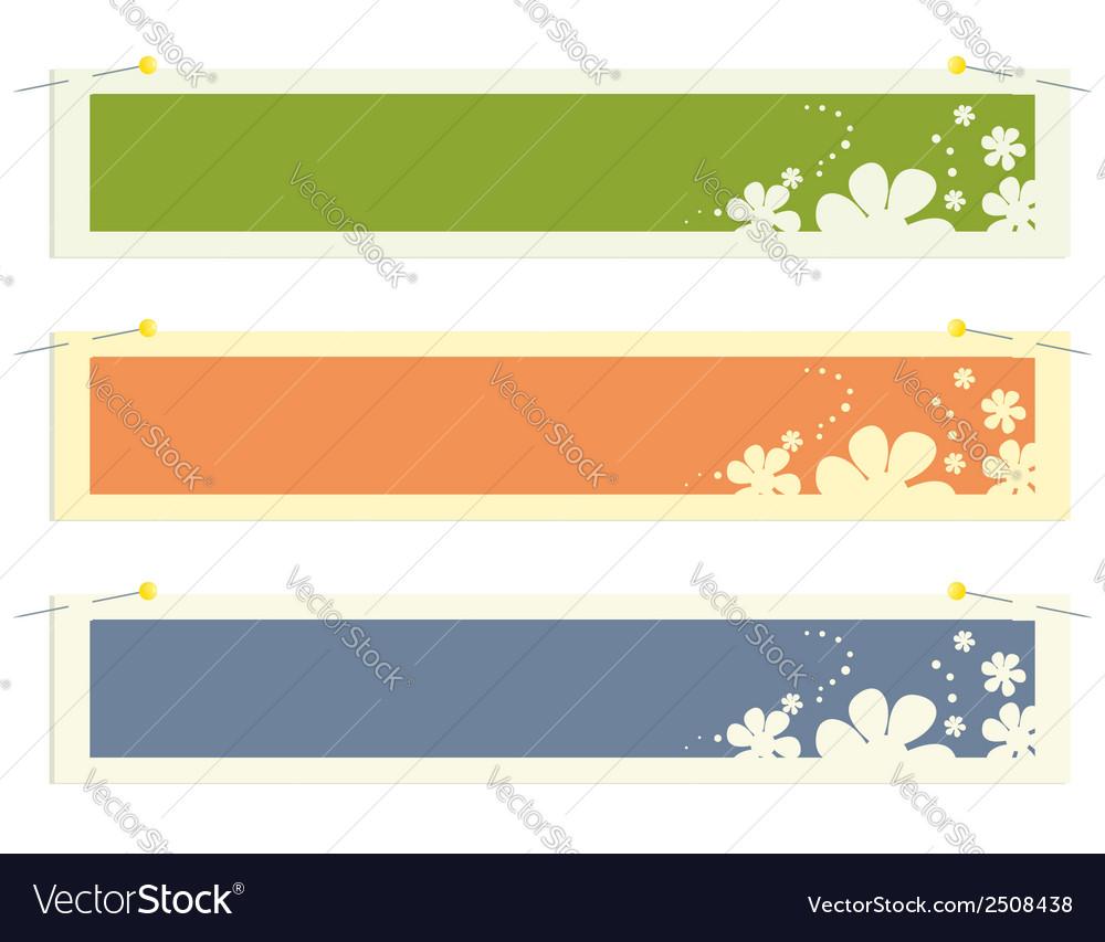 Rectangular banner flower stickers vector