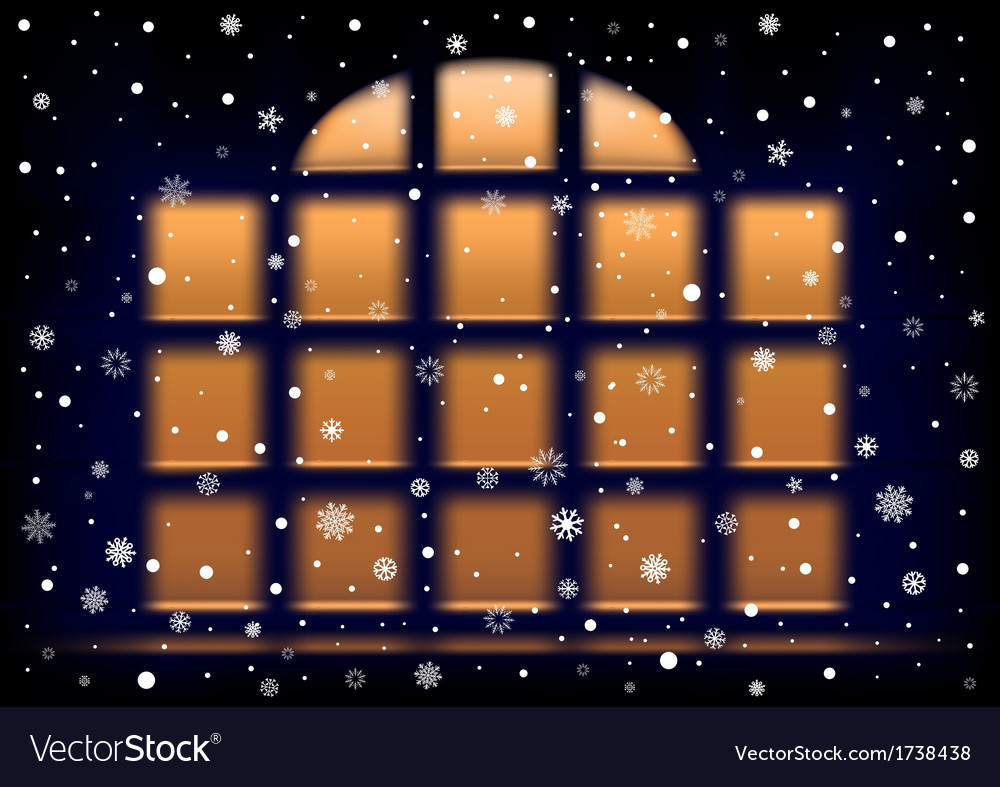 Snow night extra large window vector