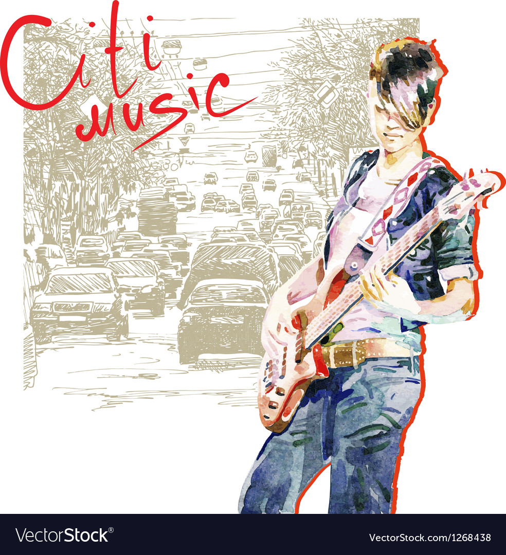 Teenager girl playing guitar vector