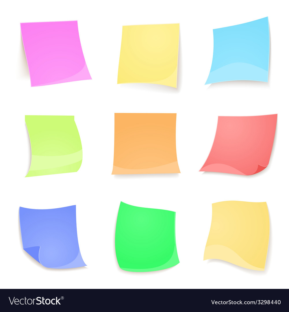 Colorful stick note isolated on white background vector