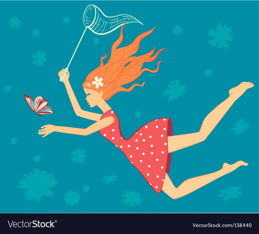 Girl catch butterfly card vector