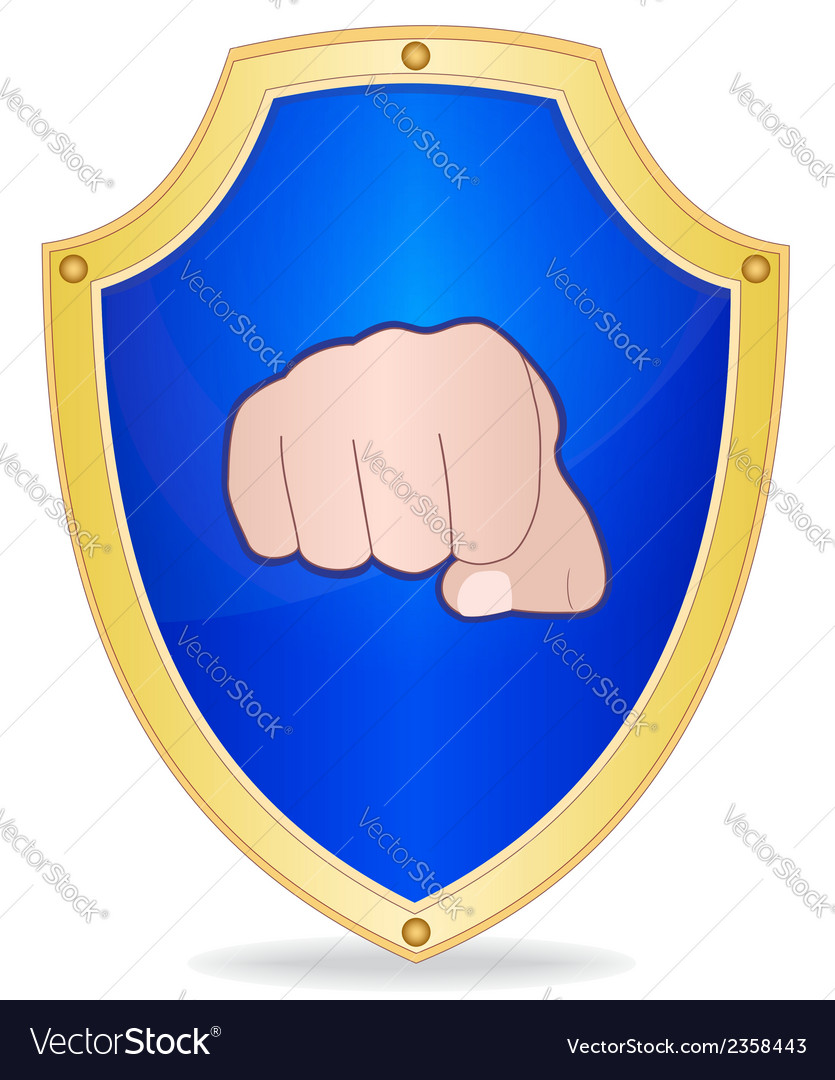 Shield with fist vector