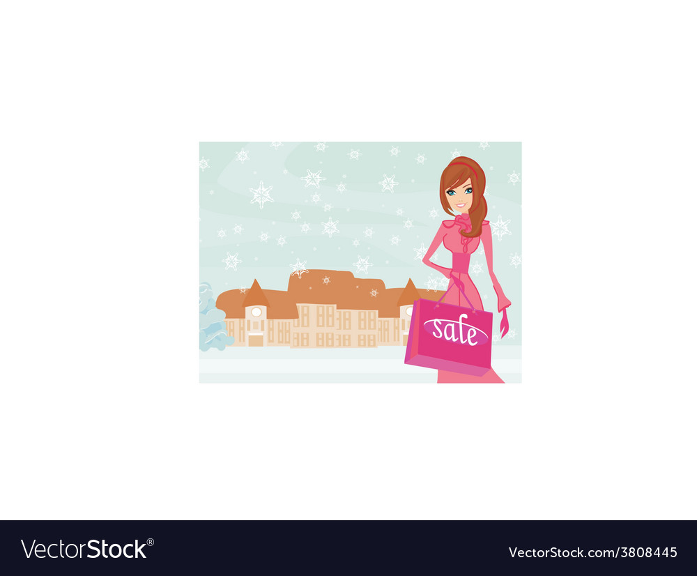 Fashion winter girl with shopping bags vector