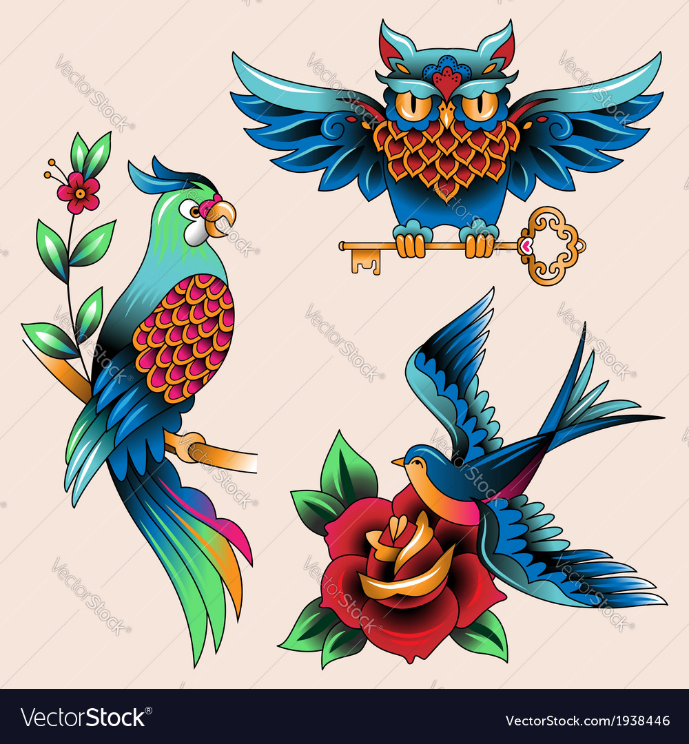 Tattoo birds vector