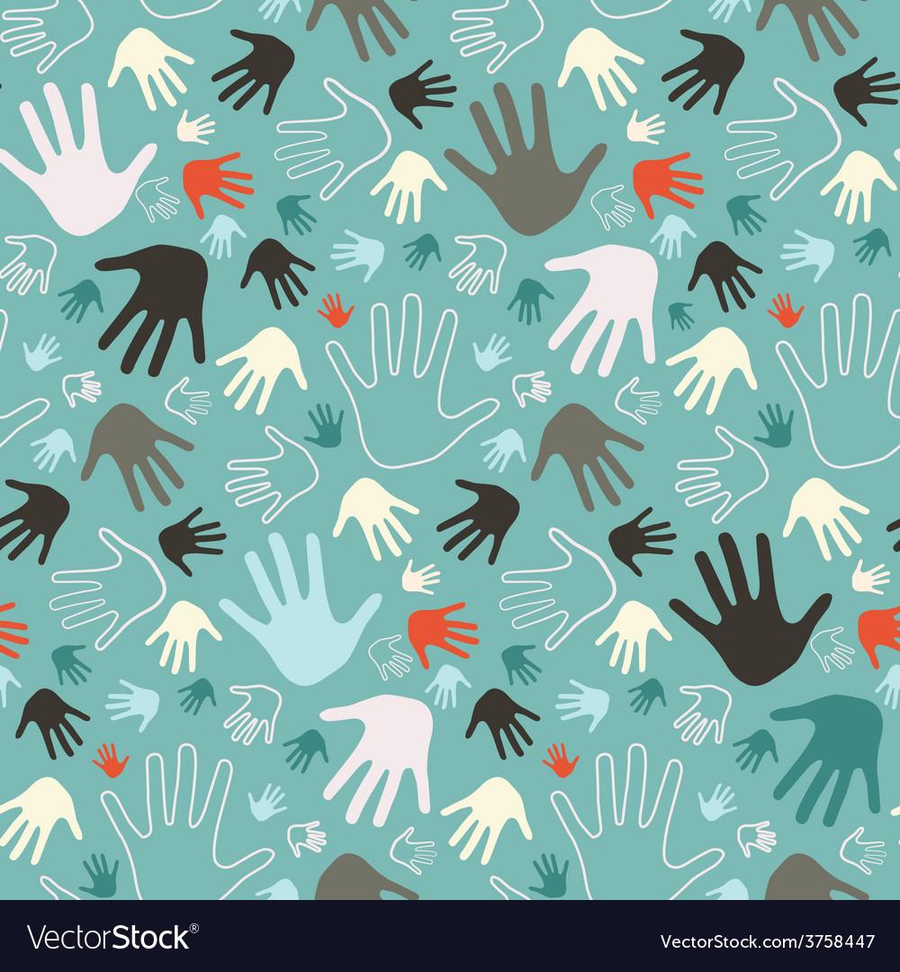 Palm hand seamless retro pattern vector