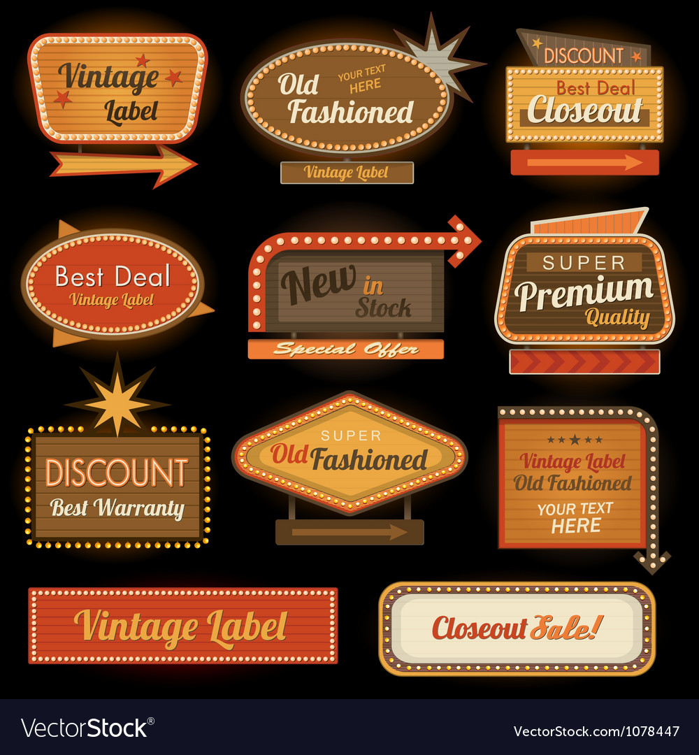 Vintage retro label signs vector