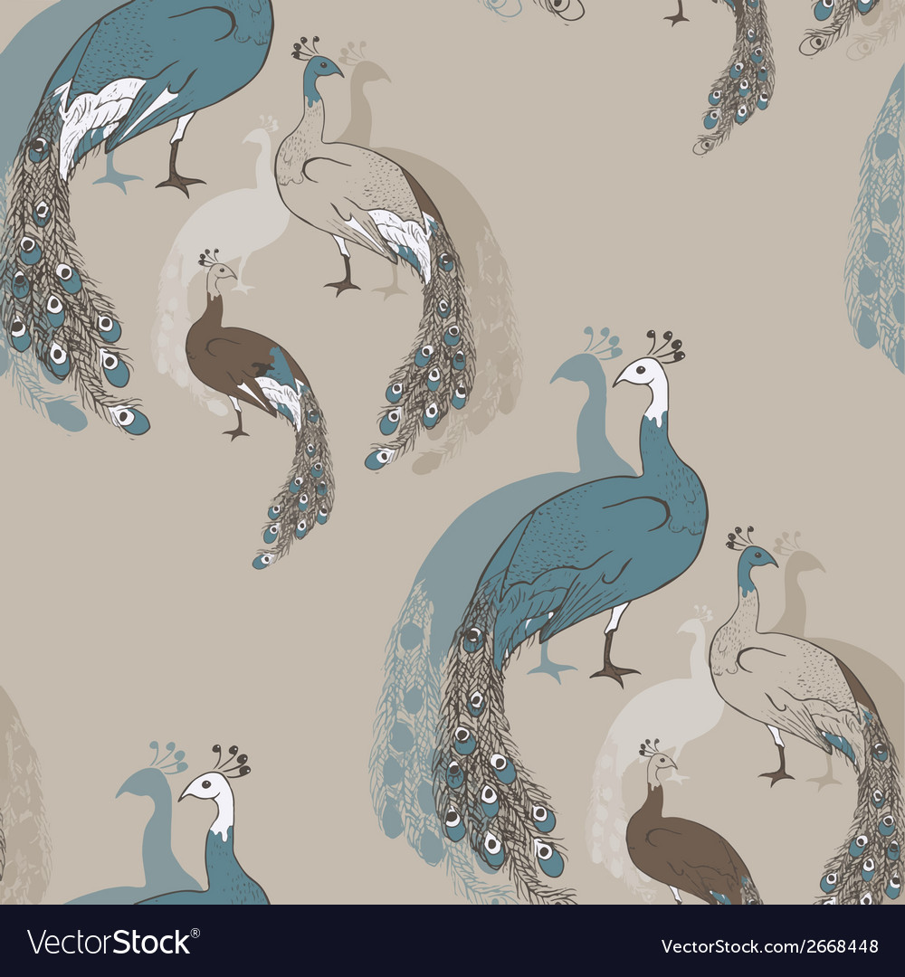Peacock seamless pattern vector