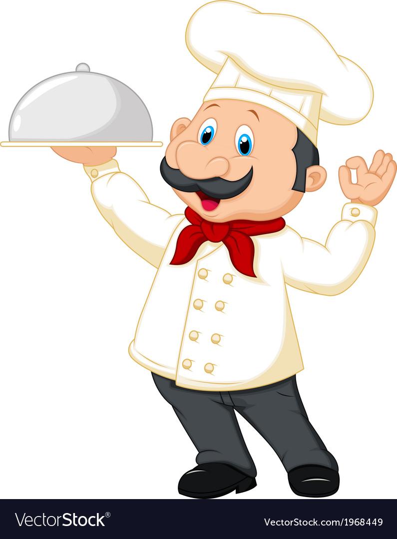 Chef cartoon holding platter vector