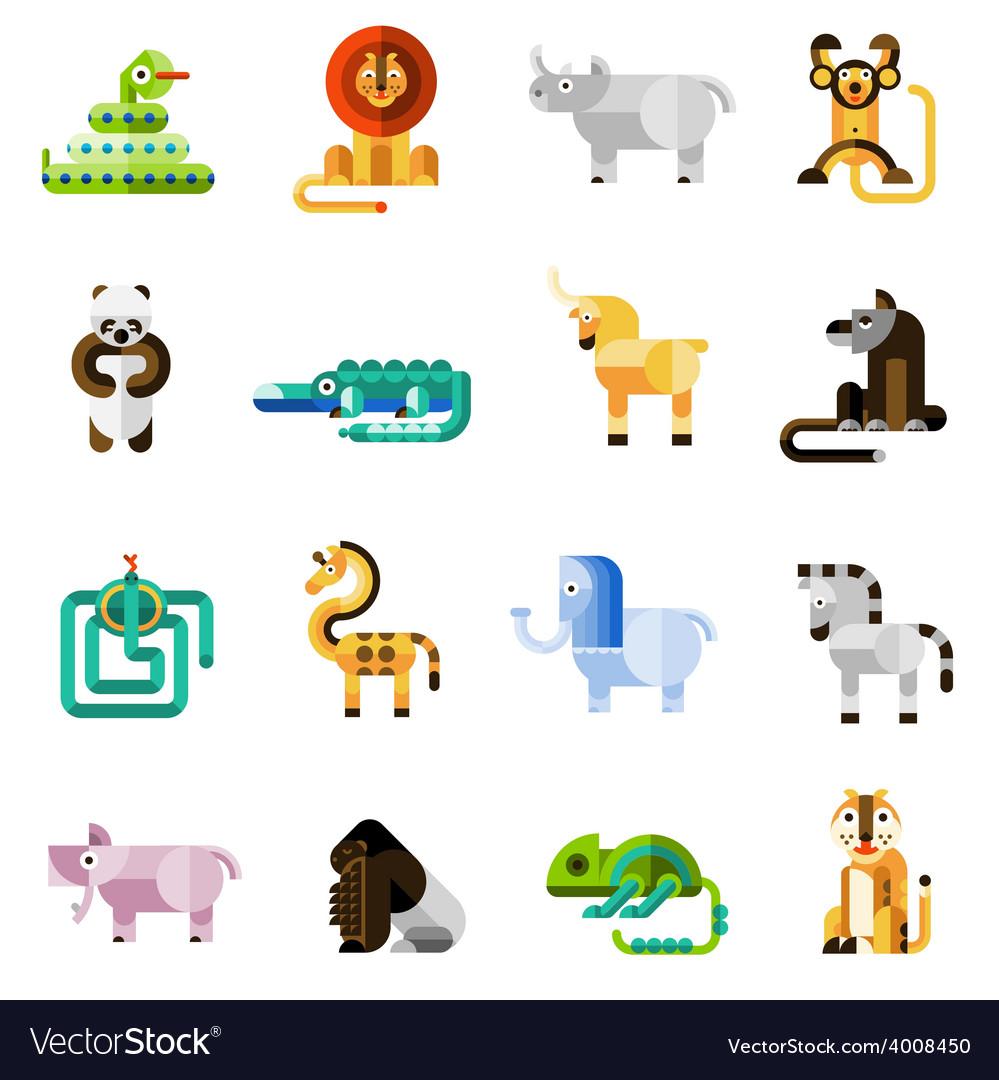 Jungle animals set vector