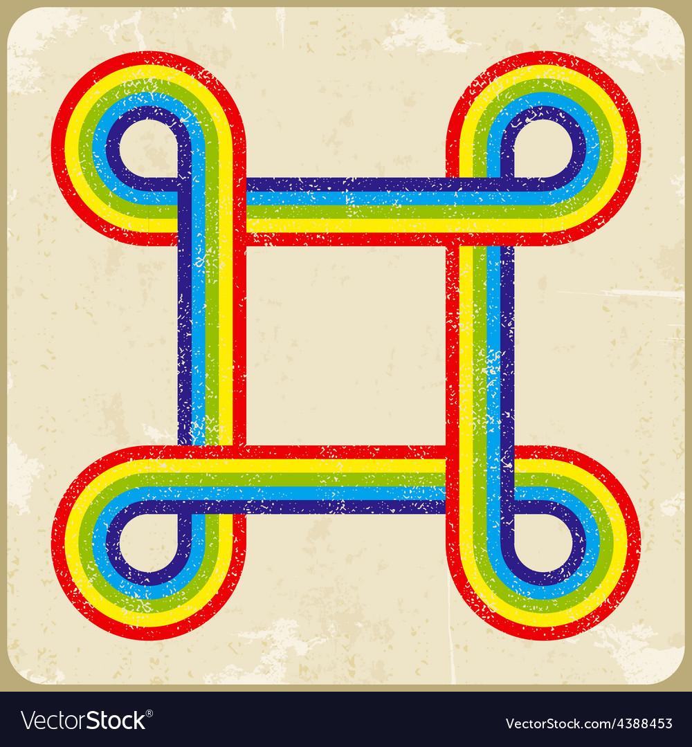 Grunge frame rainbow background vector