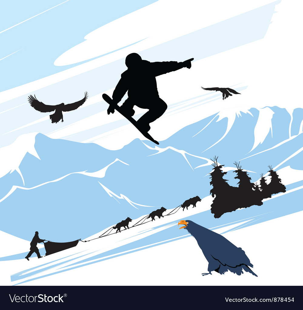 Snowboarder silhouette jump vector