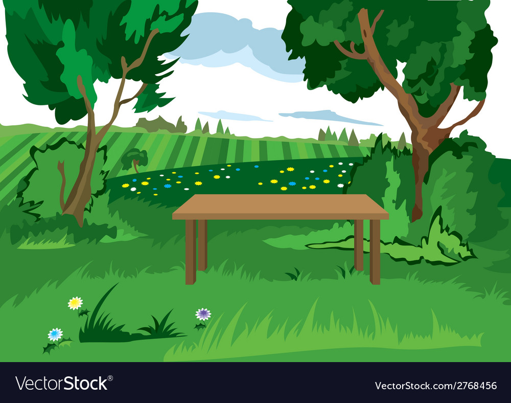 Cartoon grass trees and bench vector