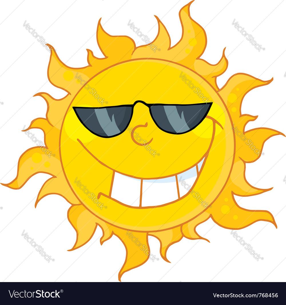Cool sun wearing shades vector