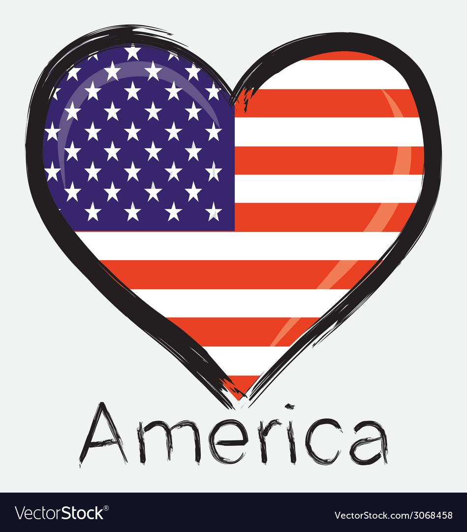 Love america flag vector