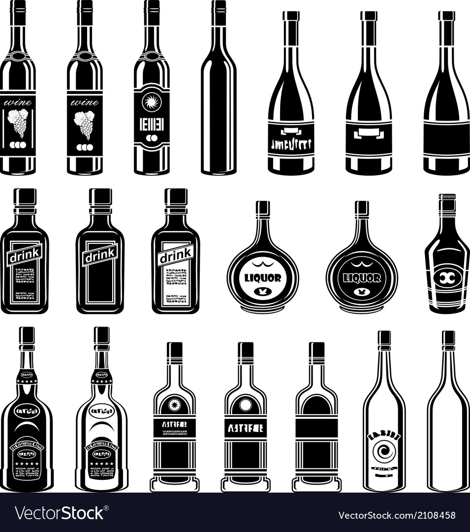 Set of alcohol bottles vector
