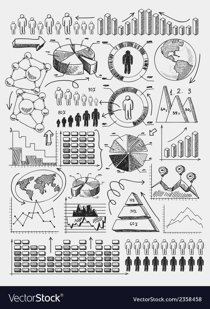 Sketch diagrams infographics vector