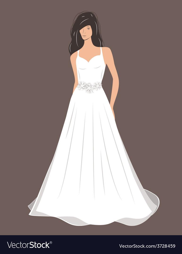 Woman in wedding dress vector