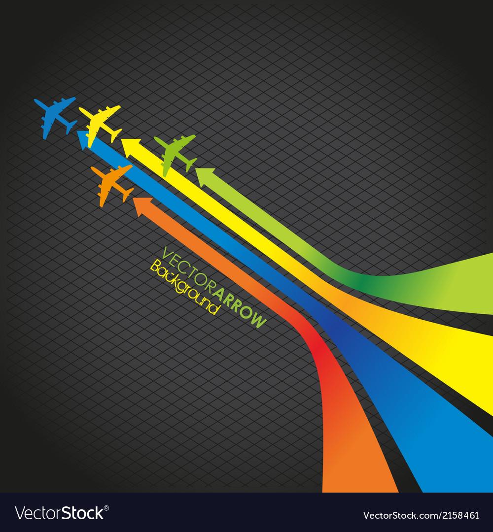 Coloured plane arrow background vector