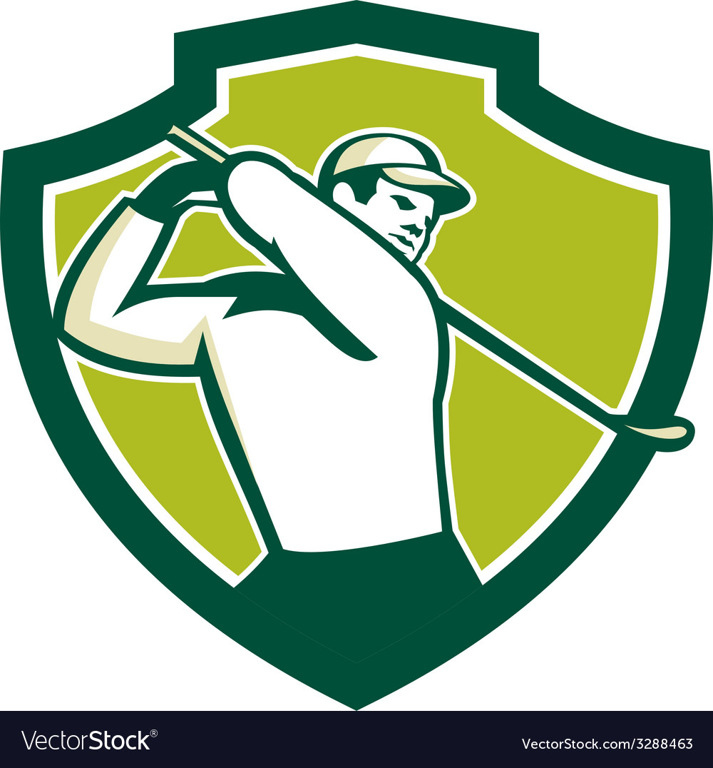 Golfer tee off golf shield retro vector