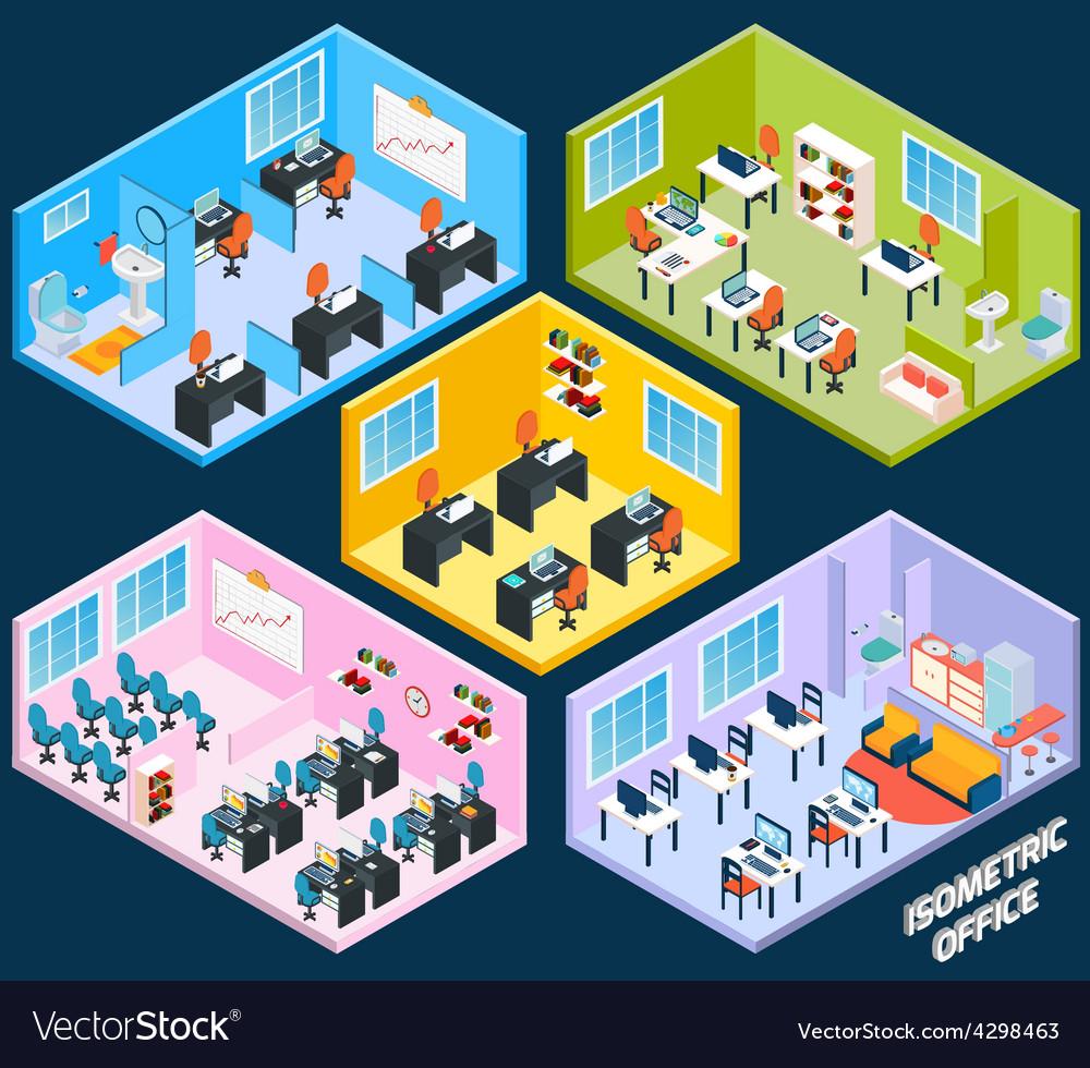 Isometric office interior vector