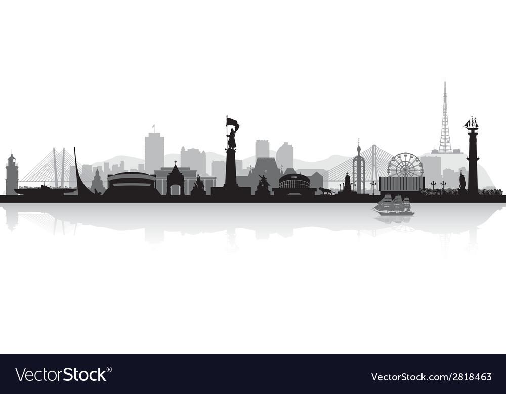 Vladivostok russia city skyline silhouette vector