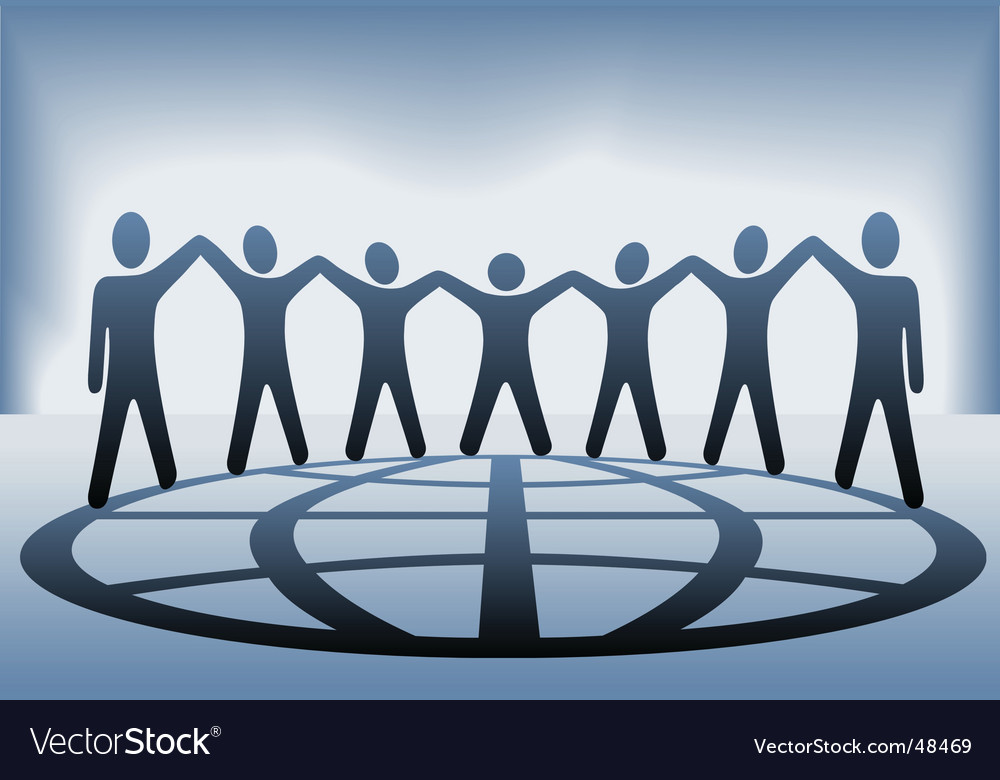 Global people hold up hands vector