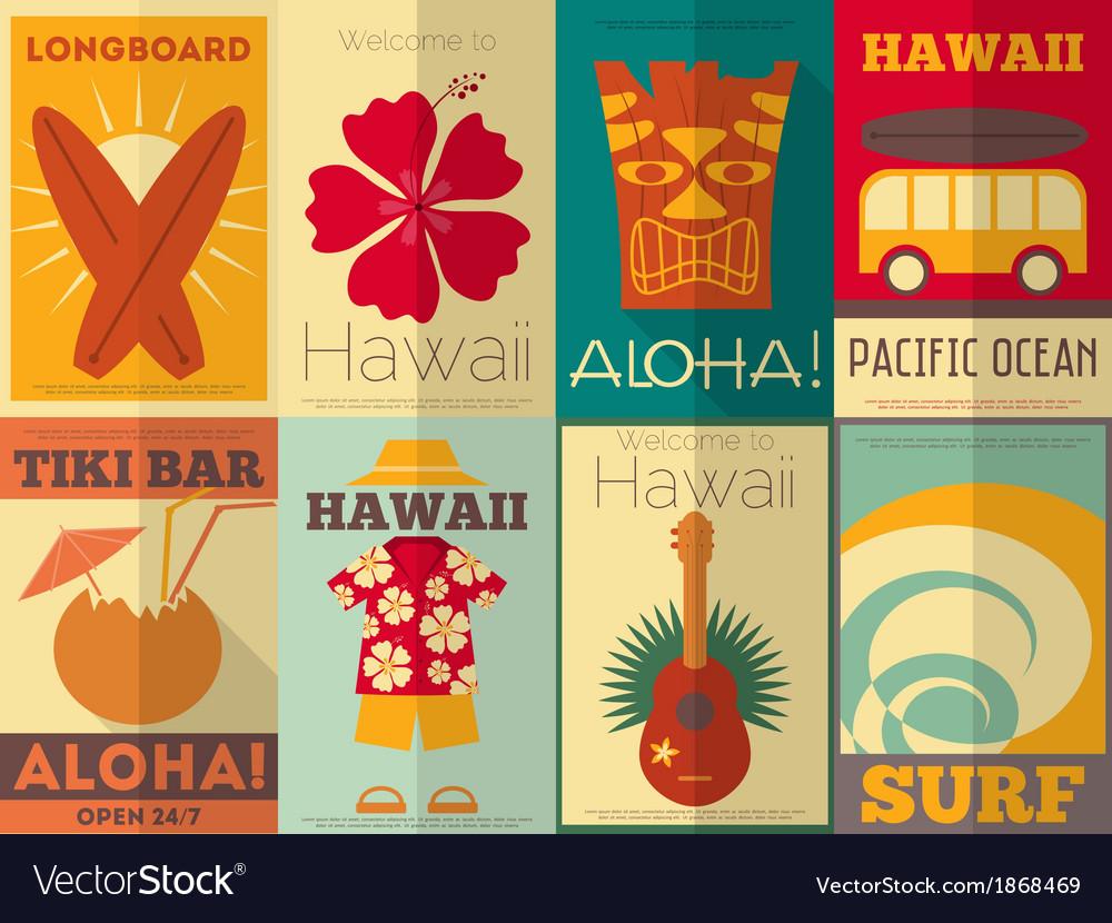 Hawaii surf retro posters vector