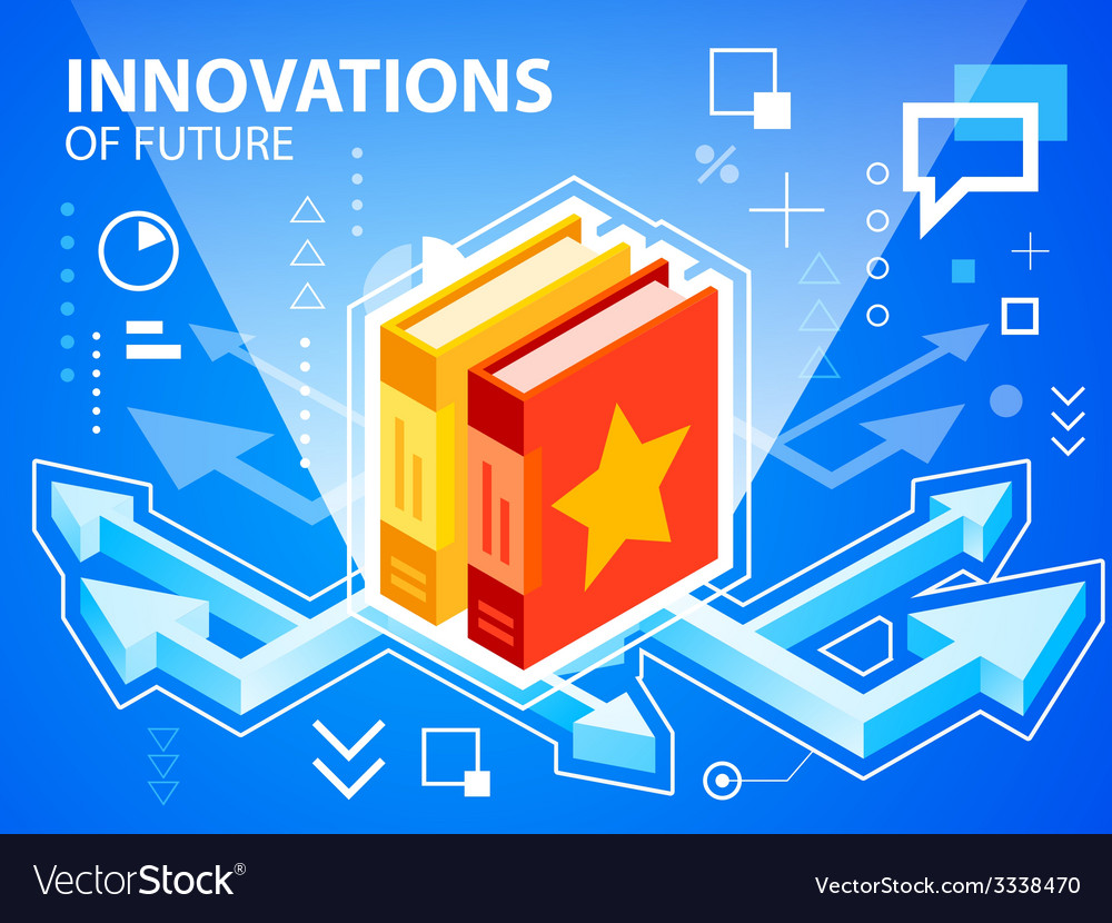 Bright arrows and books on blue background f vector