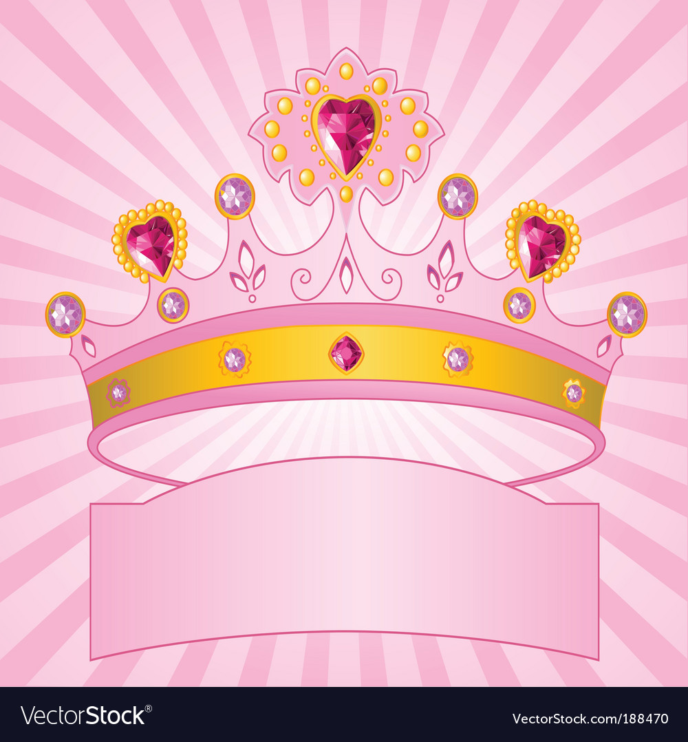 Princess crown on radial background vector