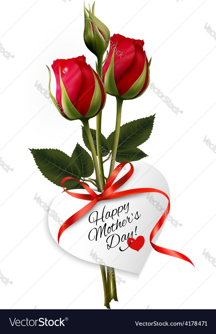 Roses with happy mothers day gift card vector