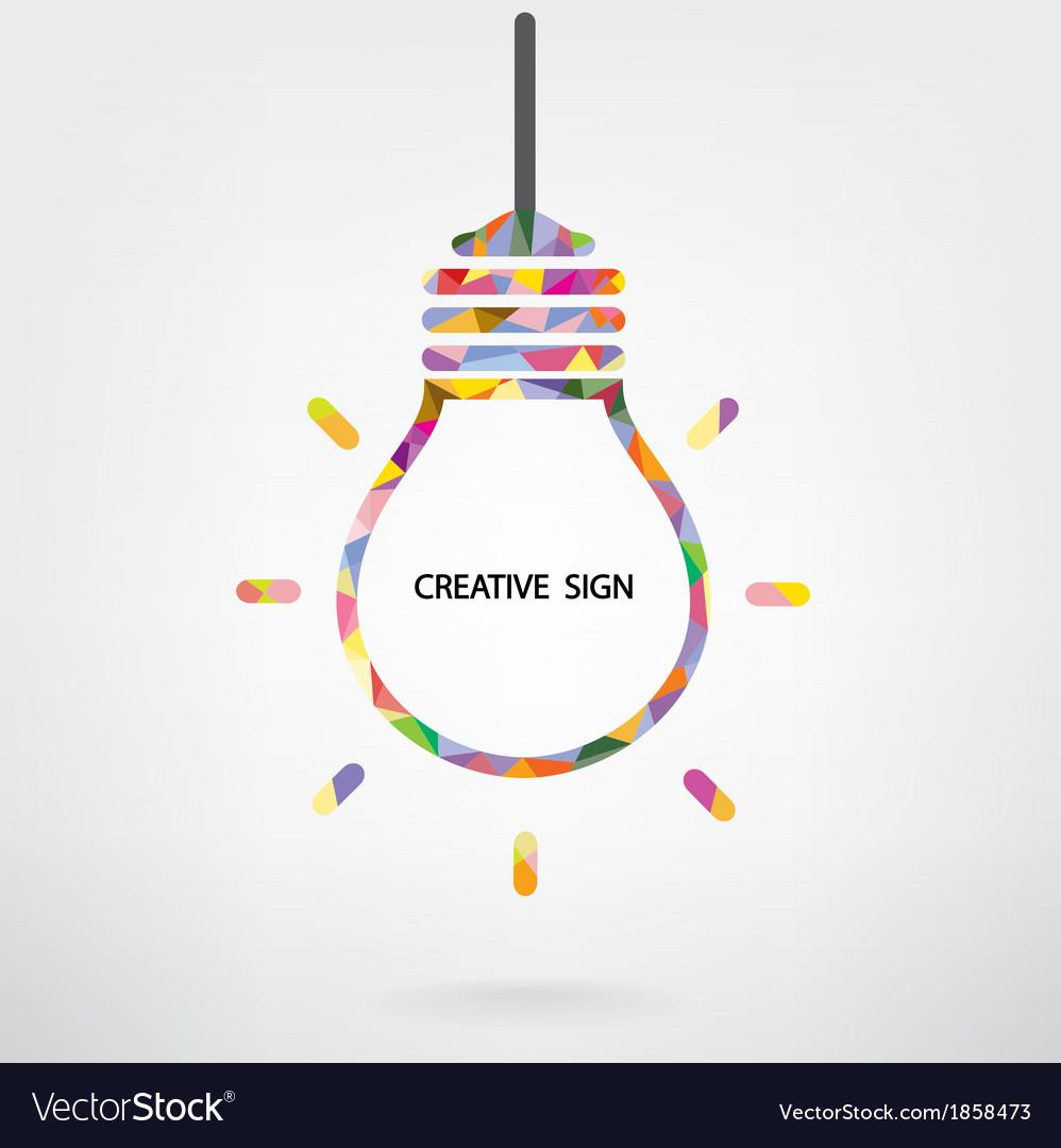 Creative light bulb idea sign vector