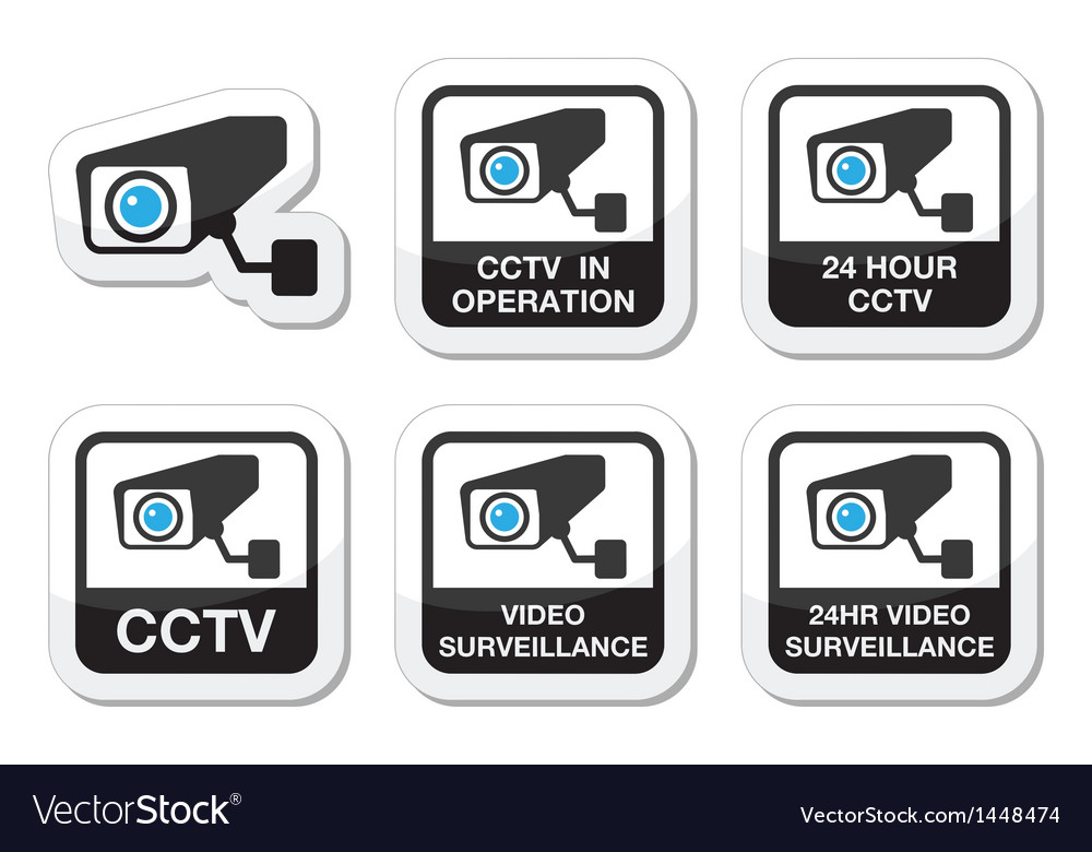 Cctv camera video surveillance icons set vector