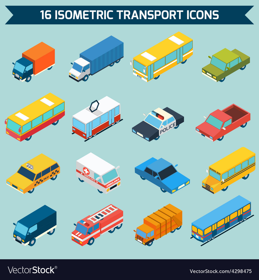 Isometric transport icons set vector