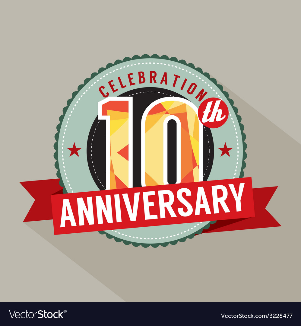 10th years anniversary celebration design vector