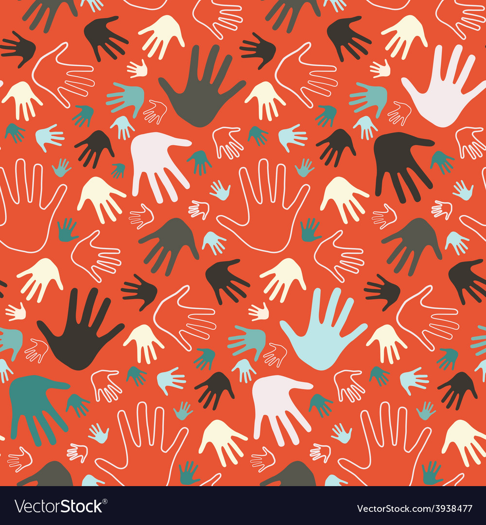 Seamless palm hands on red background vector